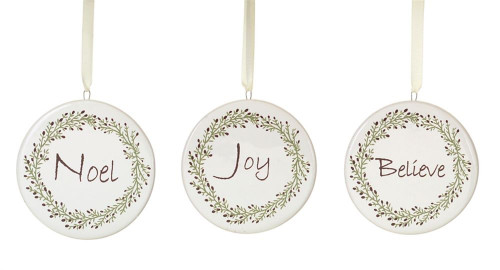 set of 3 white noel joy and believe ceramic christmas ornaments 3 32793933 - Ceramic Christmas Ornaments