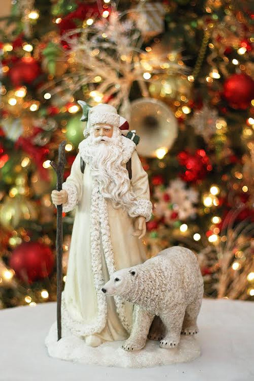 17 25 Quot White Arctic Winter Santa Claus With Polar Bear