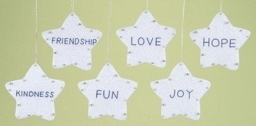 club pack of 12 assorted stars with inspirational words christmas