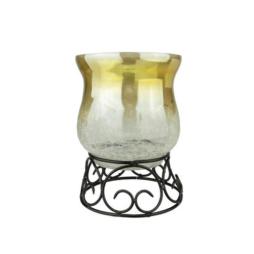 75 Decorative Golden Luster Crackle Finish Glass Pillar Candle