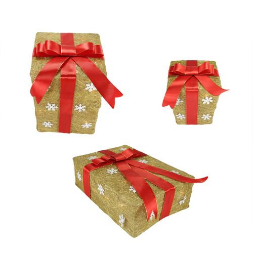 Set of 3 Gold Snowflake Sisal Gift Boxes Lighted Christmas ...