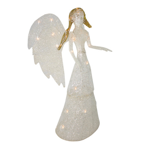 """Commercial Grade Christmas Decorations: 48"""" LED Lighted White & Gold Glittered Angel Christmas"""