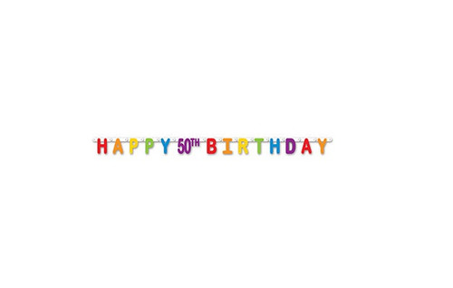 Pack Of 12 Colorful Jointed Happy 50th Birthday Banner Hanging Party Decorations 66