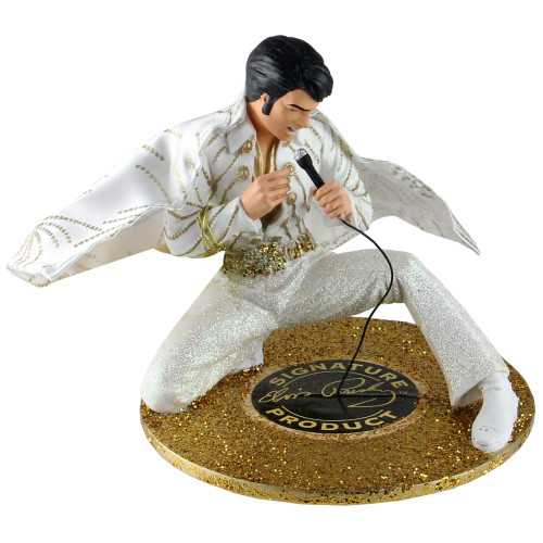 5.5-Inch Fabric Mache Elvis In White Jumpsuit Table Piece
