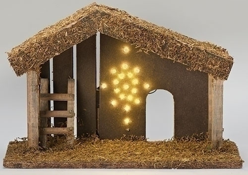 9 5 Fontanini 5 Led Lighted Religious Christmas Nativity Stable With Moss Roof Christmas Central