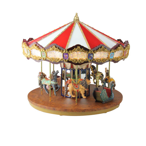 "14"" Lighted Musical Christmas Carousel Decoration"