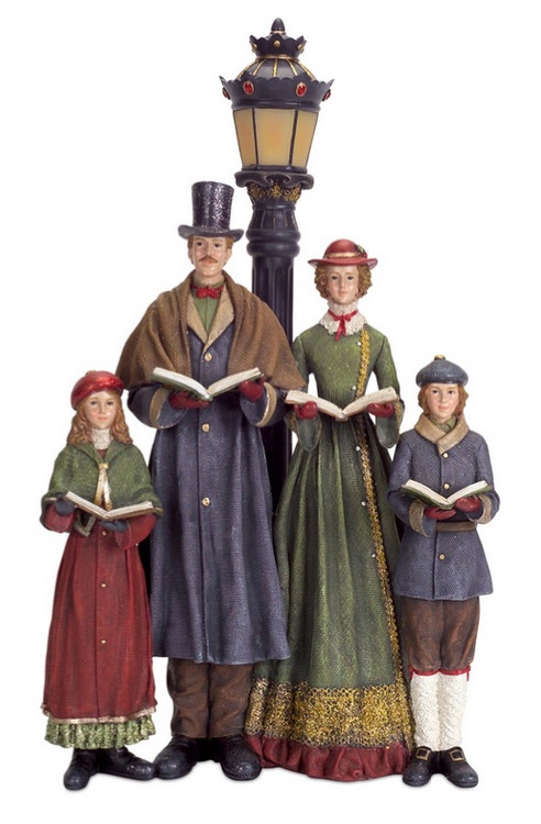 20 Quot Led Lighted Carolers With Lamp Post Table Top