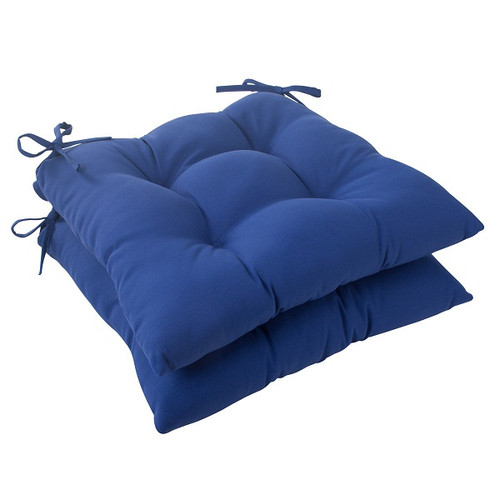 set of 2 traditional navy blue outdoor patio tufted seat cushions with ties 19 christmas central. Black Bedroom Furniture Sets. Home Design Ideas