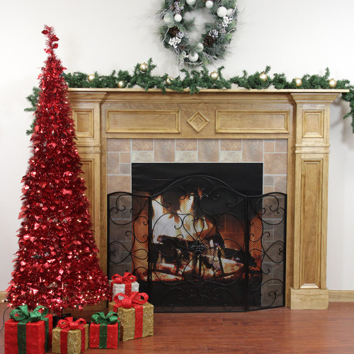6' Pre-Lit Pop Up Red Tinsel Artificial Christmas Tree - Clear ...