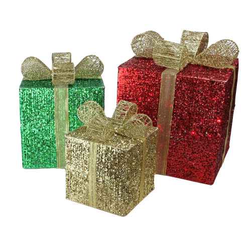 Set Of 3 Lighted Glistening Prismatic Gift Box Christmas