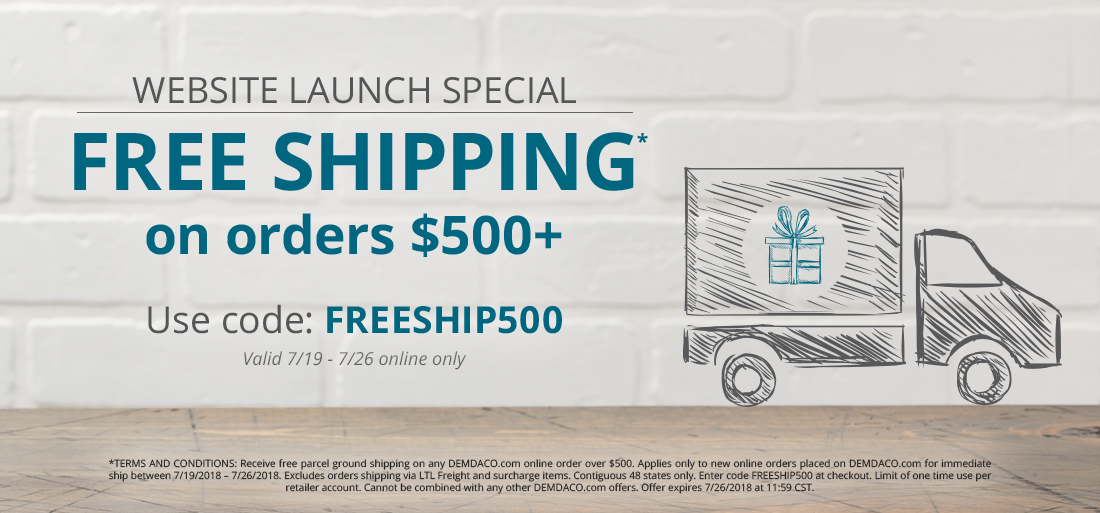 Free Shipping on qualifiying orders over $500