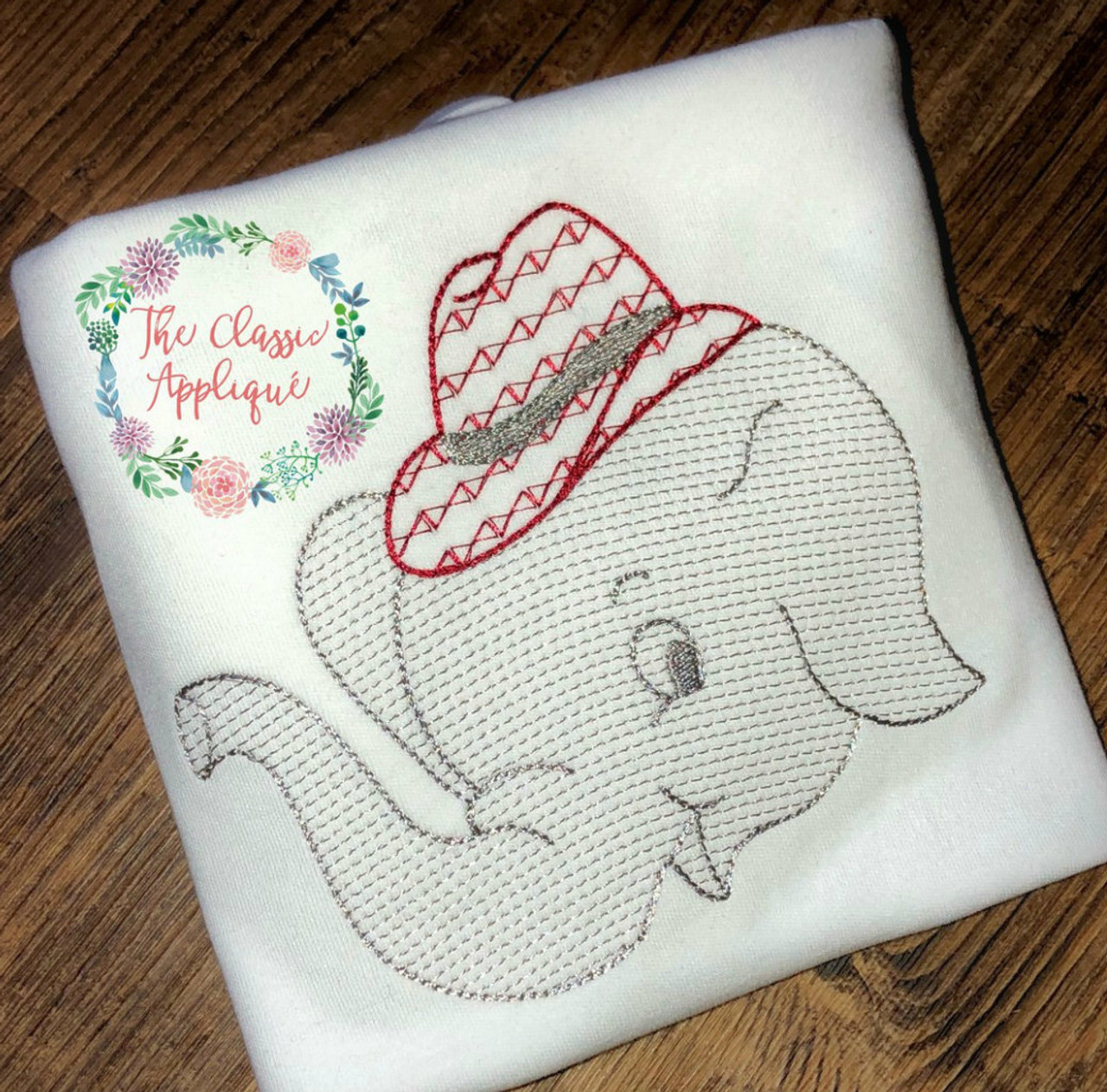 Sketch fill Alabama football elephant with hounds tooth fedora ...