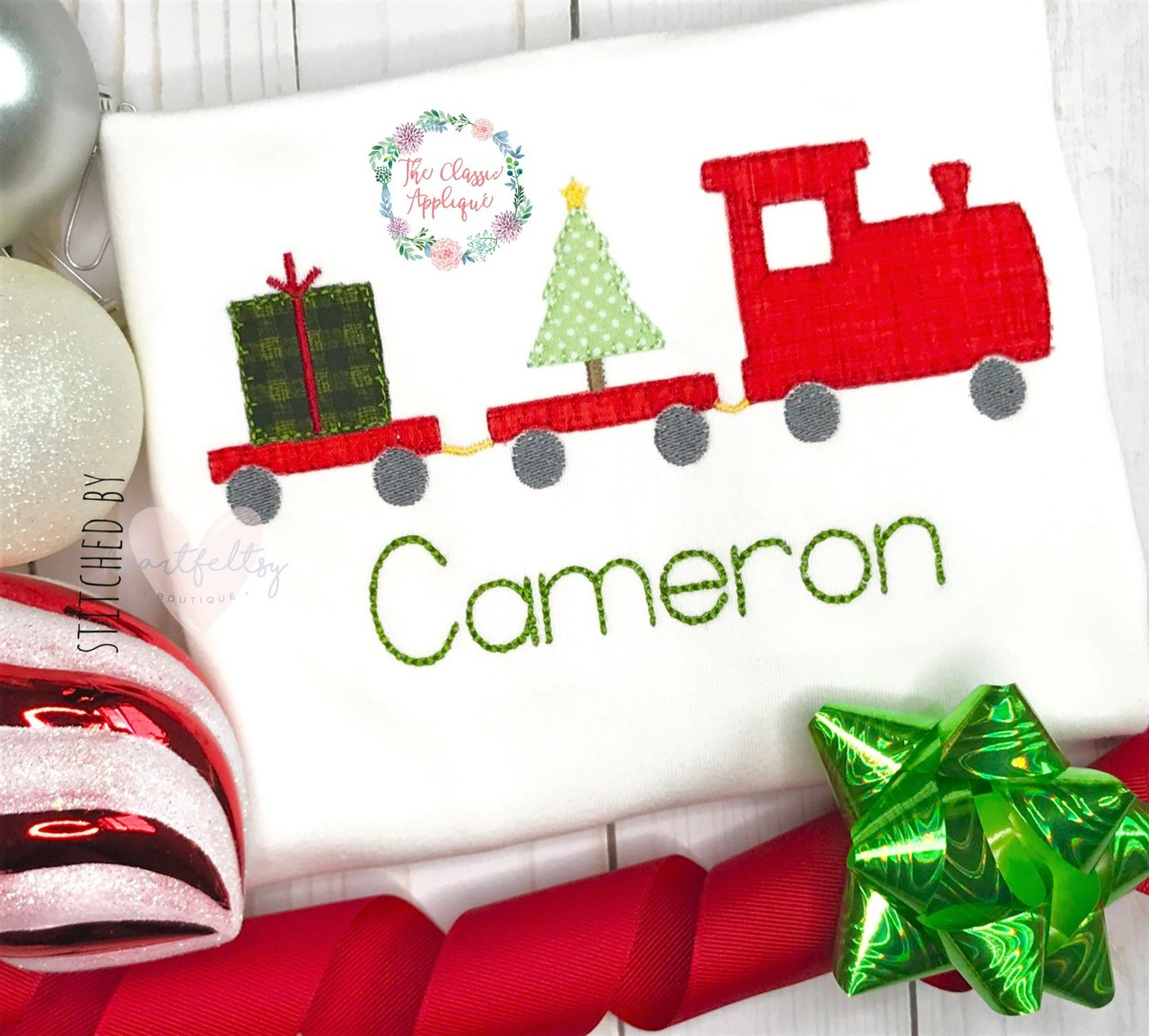 Baby boy first Christmas train with present and Christmas tree ...