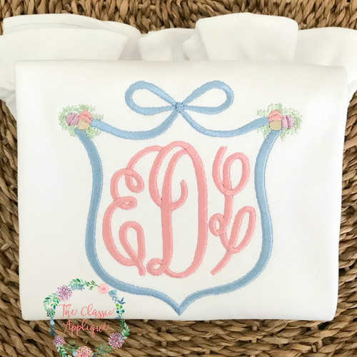 Bow and laurel monogram frame machine embroidery design by The ...