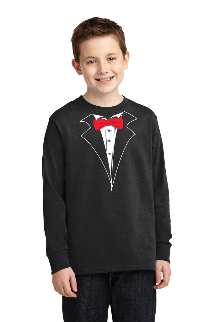 Longsleeve Tuxedo T-Shirt for the kids red tie, no carnation