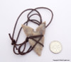 Shark Tooth shaped Agate Arrowhead Leather Wrap Pendant