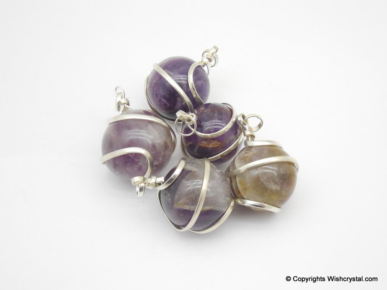 Amethyst sphere / ball wire wrap pendant - Wishcrystal.com
