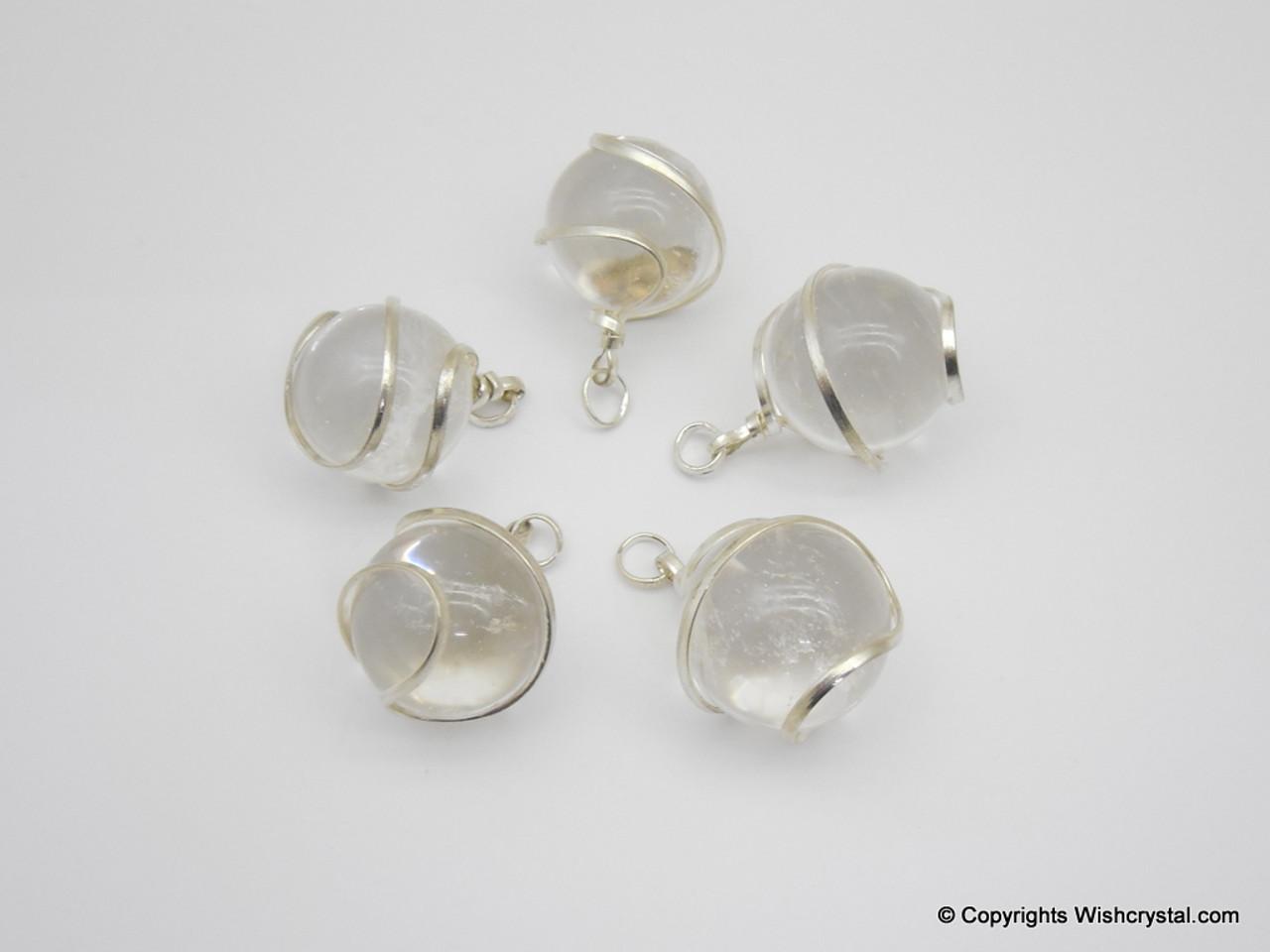 Crystal Quartz sphere / ball wire wrap pendant - Wishcrystal.com