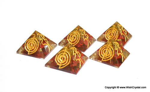 Red Jasper Orgone Pyramid Engraved wirh Reiki Signs