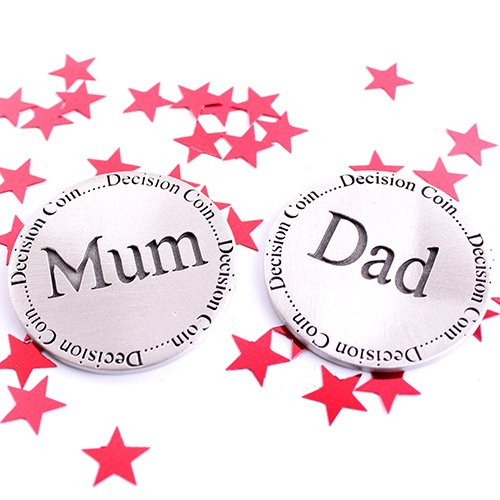 Mum and Dad Pewter Decision Coin