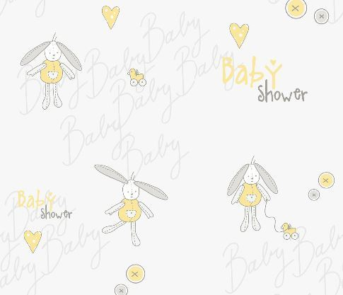Baby Shower gift Wrapping paper yellow Bunny (4 Sheets & gift Tags)