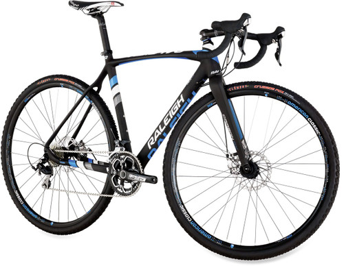 Raleigh RXC Disc Shimano STI equipped Carbon Bicycle, White, Silver & Blue Accents - Build It Your Way