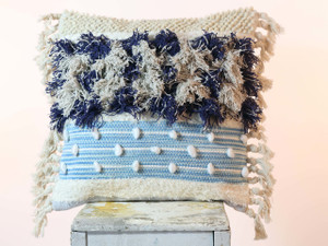 Boho Cotton and Wool Tassel Pillow BLUE
