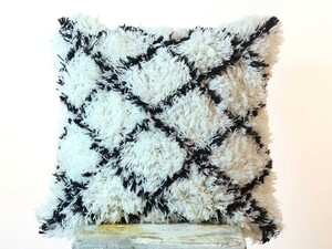 Boho Black & White Shaggy Hairy Devil Pillow Cushion Cover