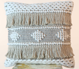 Shaggy 50 x 50 cm Hand Loomed Cotton Cushion Cover