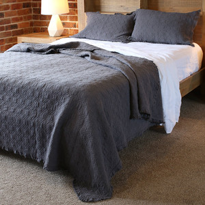 Cotton Coverlet Blanket Bedspread, Charcoal Blue  KING size - Vintage