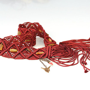 Marcame Sea Glass hand made Belt Maroon colour