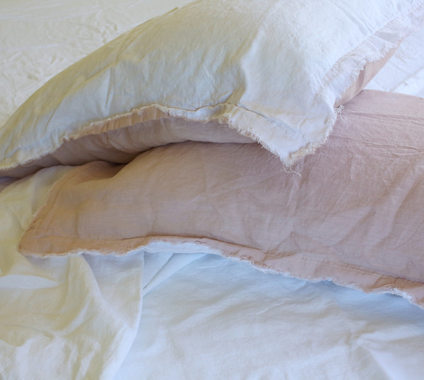 LINEN SHEET SETS WITH FRAYED PILLOWSLIPS - WHITE - QUEEN SIZE