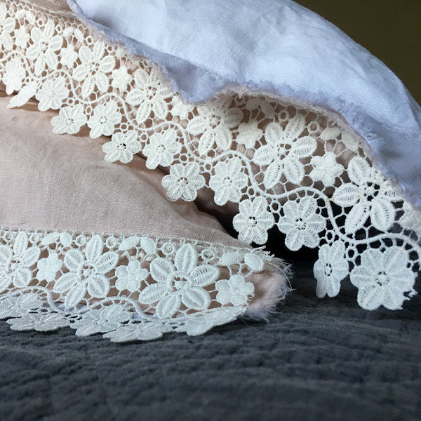LINEN & LACE WHITE QUEEN BED - YUMMY LINEN - SHEET SET