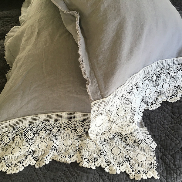 French linen and lace - grey sheet set.