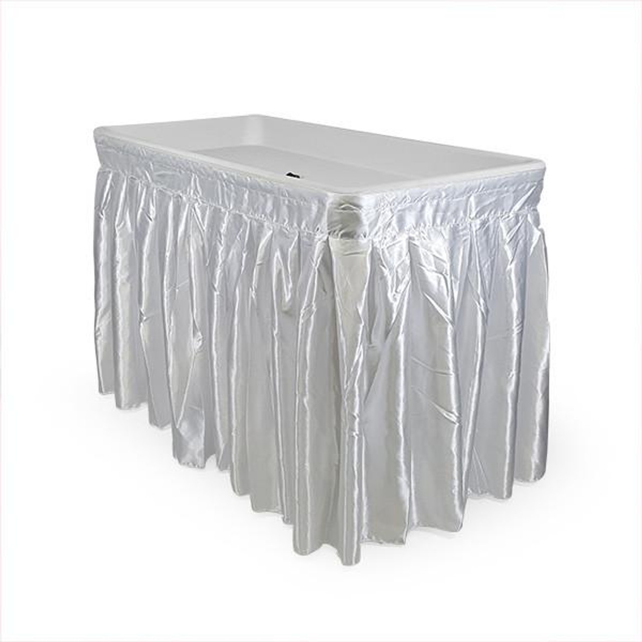 ... 4 Foot Cooler Ice Folding Table W/ Skirt White ...