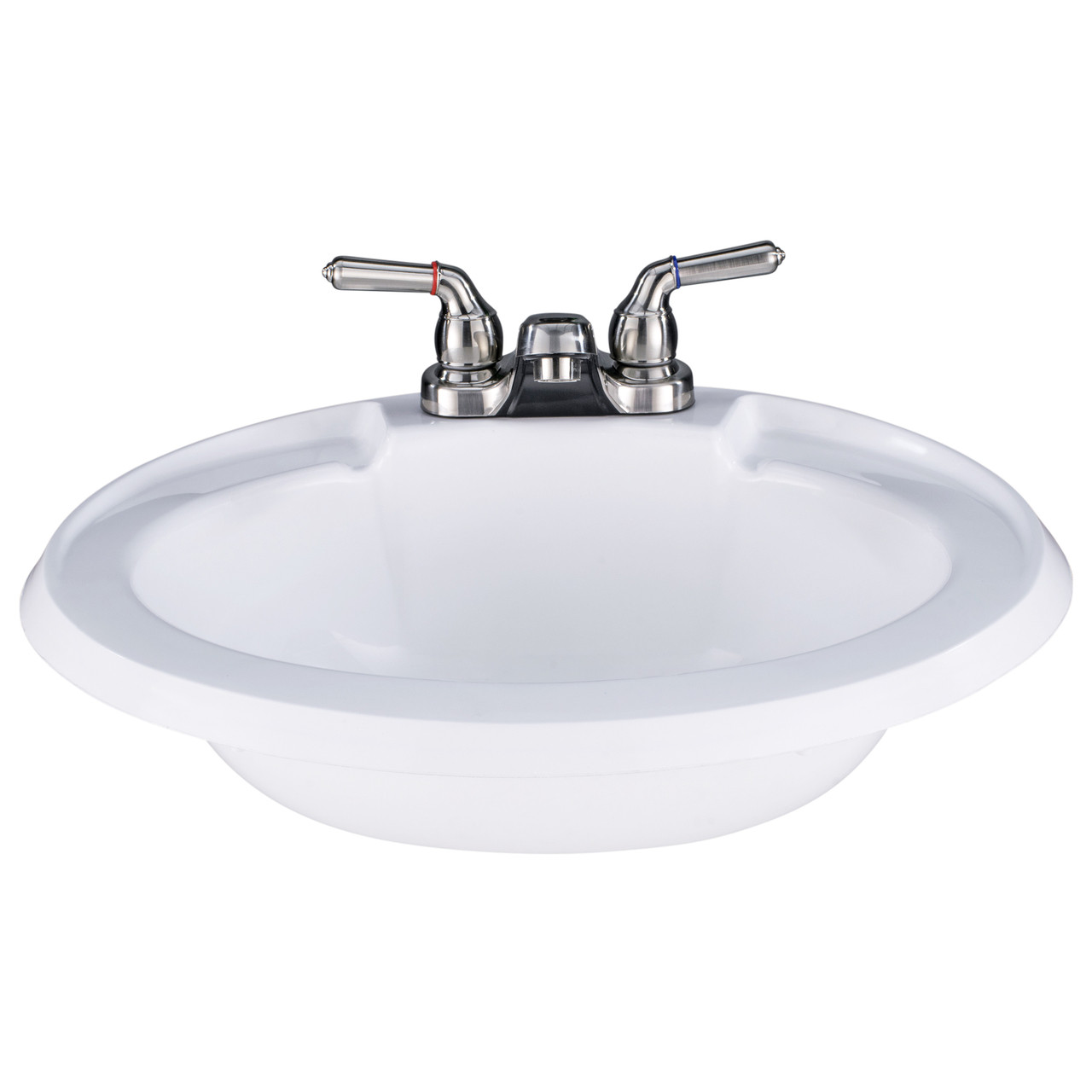 White Oval RV Bathroom Sink w/ Brushed Nickel Faucet Combo - RecPro