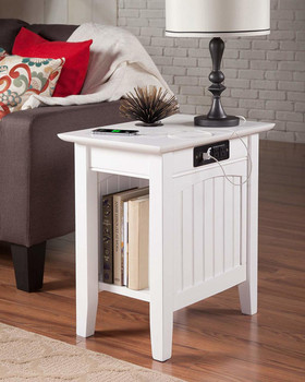 RV Side Table with Side USB Charging Station and Power Outlets White