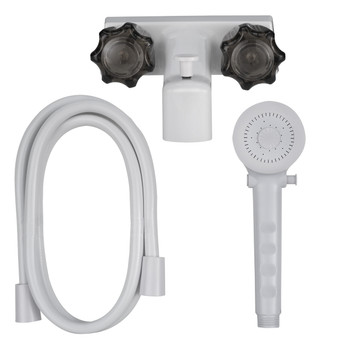 """4"""" RV Tub and Shower Diverter Faucet White/Smoke with Handheld Shower Head & Hose"""