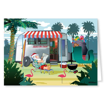 Christmas Cards - Santa Relaxing in Warm Weather with Camper