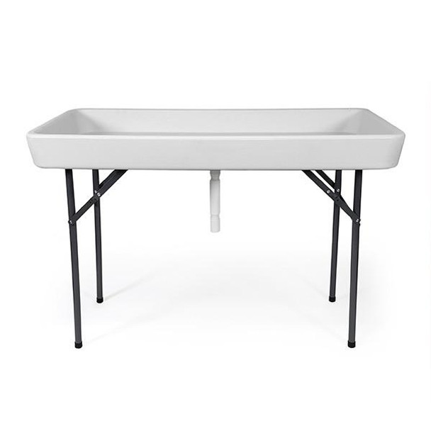4 foot cooler ice folding table w/ skirt white - recpro