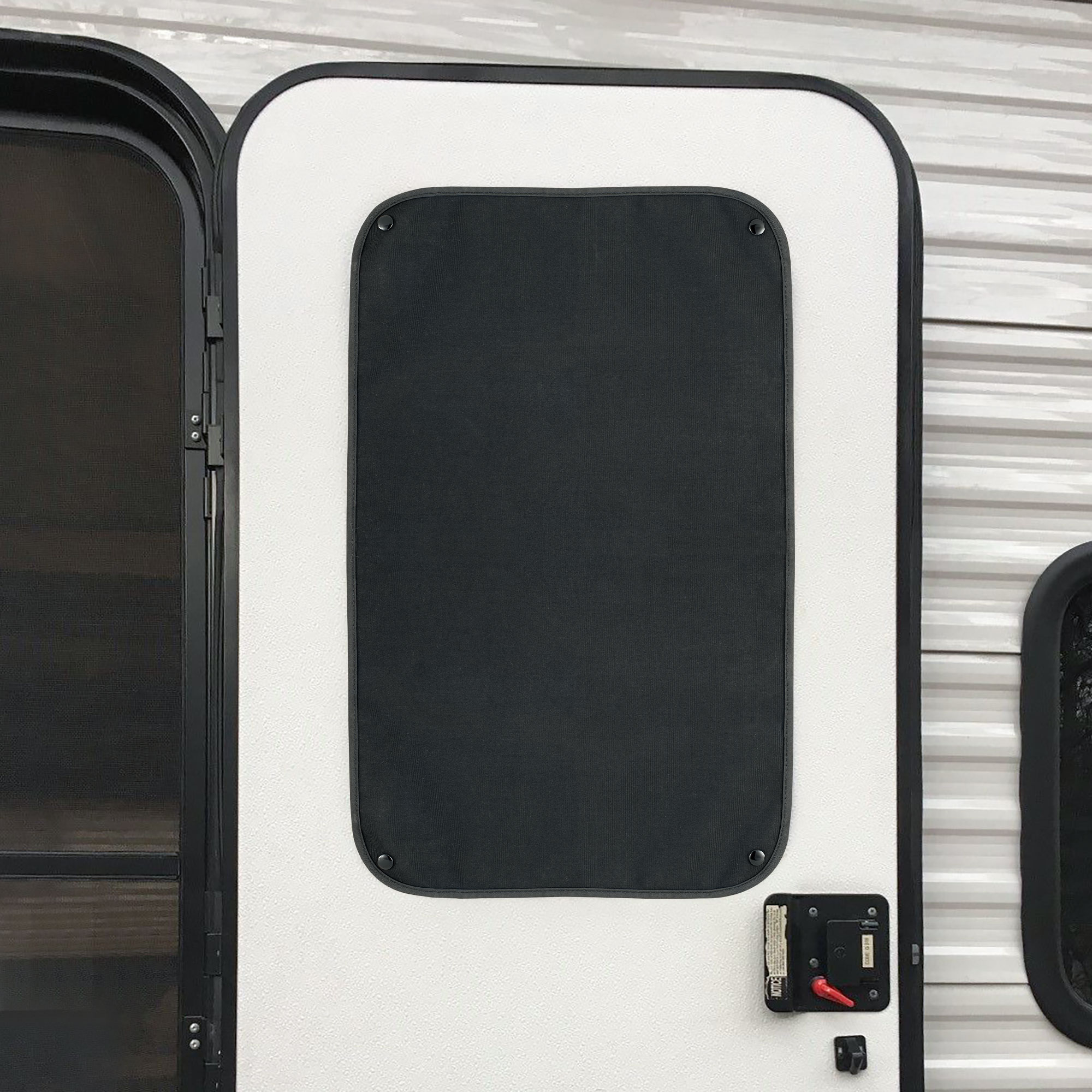 RV Window Shade for Entry Door with Snaps - Black - RecPro