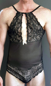 Emma Teddy - Front showing high cut at the thigh, even gap from the mid drift to the neckline