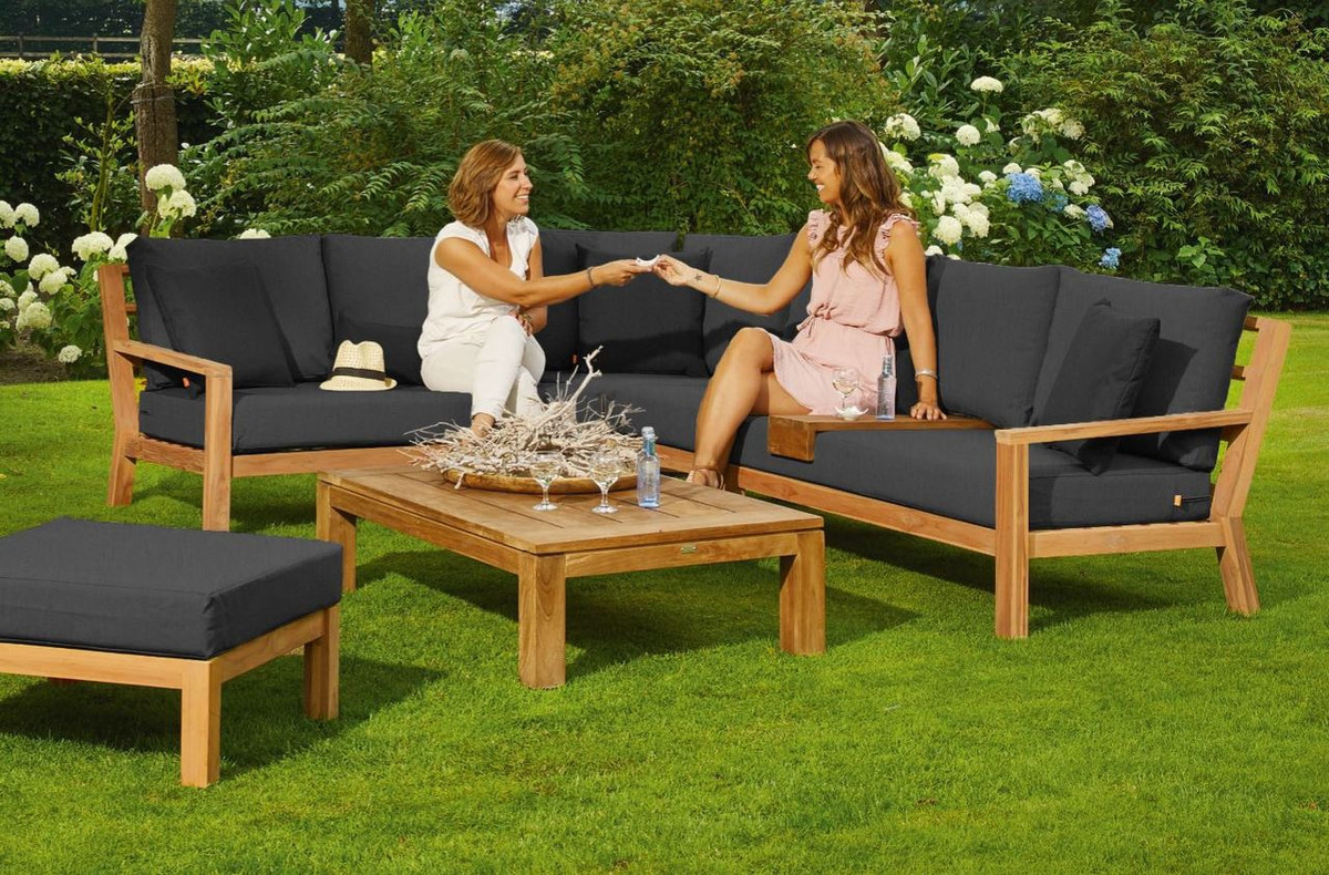 Life Garden Furniture Timber teak corner sofa set by life outdoor living picture also shows optional coffee table and pouf workwithnaturefo