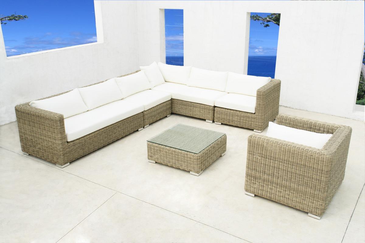 Outdoor Modular Sofa Lounge Set Textilene Rattan