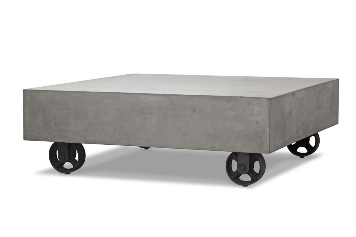 Elegant Please Note : Wheels Are Decorative. They Do Not Move. Soho Lightweight Concrete  Outdoor Coffee Table 80x80