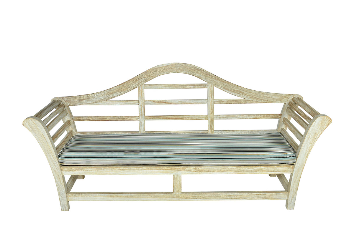 Alessia outdoor aged teak bench white vintage finish