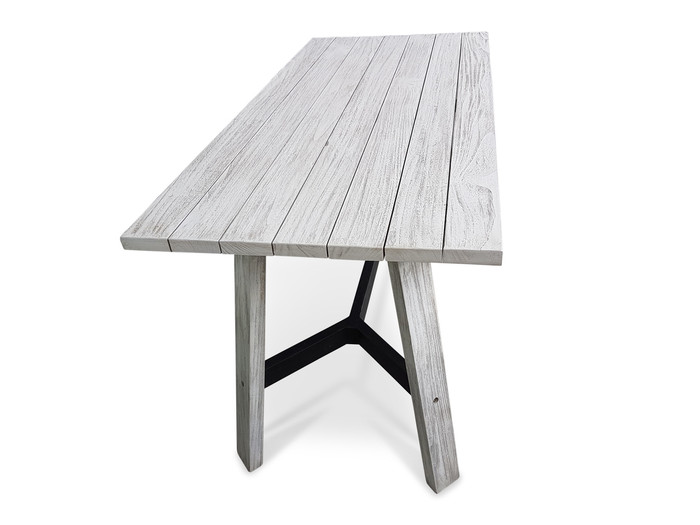Tele Aged Teak Narrow Outdoor Dining Table - 150x70x76H