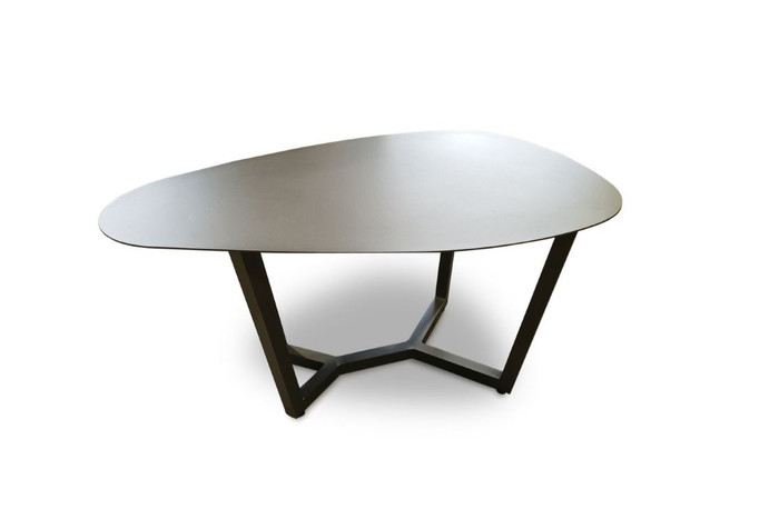 This Leaf outdoor coffee table is 45cm tall. It is made from powder-coated aluminium and is ideal for seaside use.