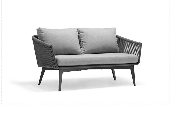The Diva 137cm outdoor sofa is made from outdoor rope with powder-coated aluminium frame and Sunbrella fabric. Compact yet comfortable.  Fresh appearance and attractive.