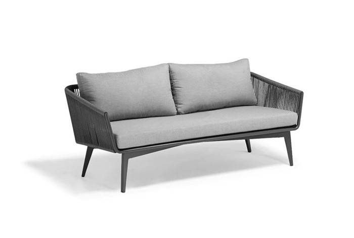 The Diva 178cm outdoor sofa is made from outdoor rope with powder-coated aluminium frame and Sunbrella fabric. Compact yet comfortable.  Fresh appearance and attractive.